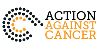 Action Against Cancer self-entitled logo, orange and maroon