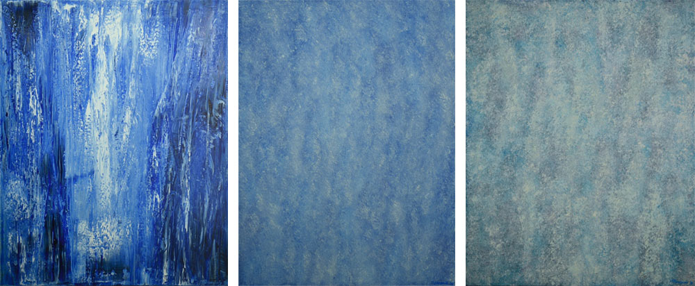 3 blue paintings