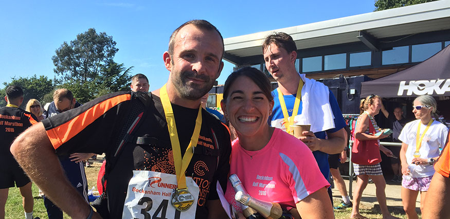 Cheryl Whitehead and husband Phil ready for marathon
