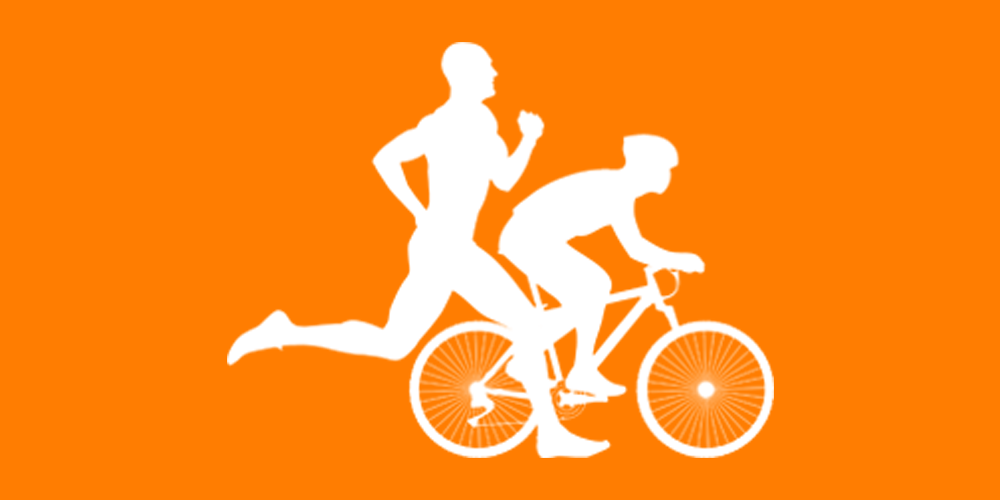 white clip art of man running and man on a bike
