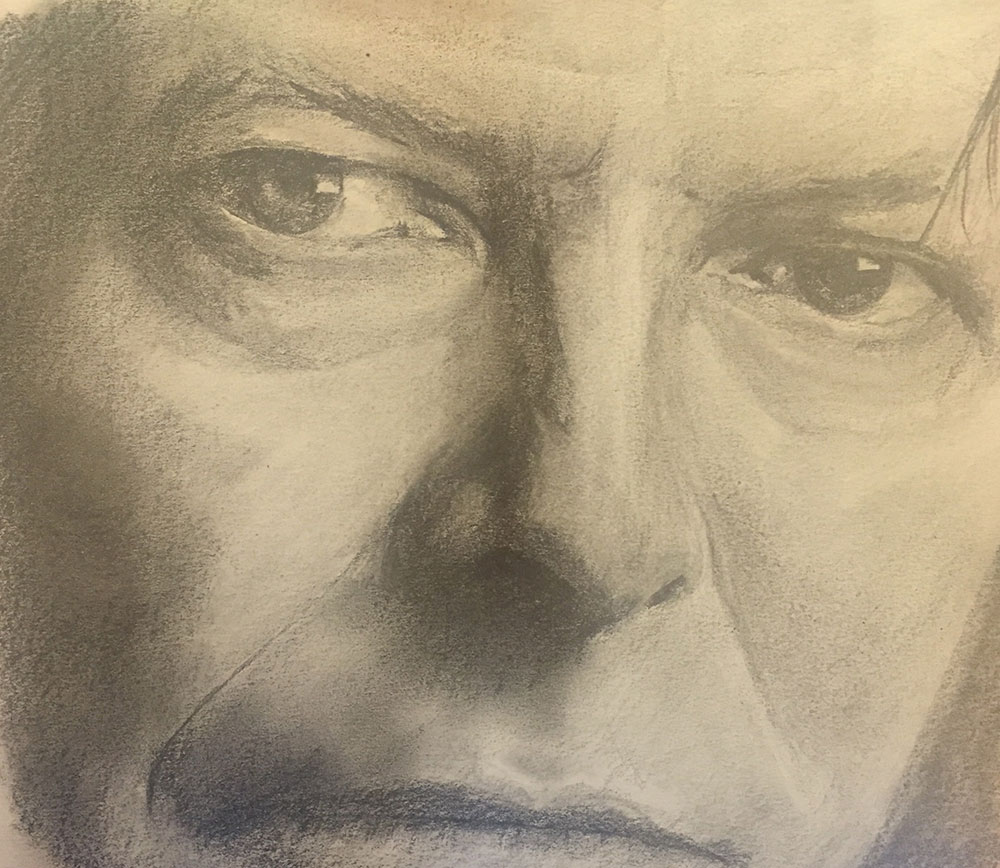 Pencil sketch of David Bowie