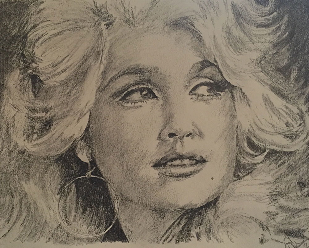 Pencil sketch of Dolly Parton