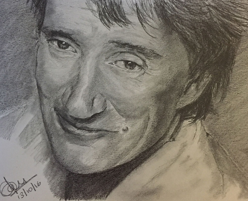 Pencil sketch of Rod Stewart